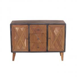 Sideboard CROSS-14 120x38x85cm Holz natur, lackiert, Metall antik-grau recyceltes Teak + Stahl