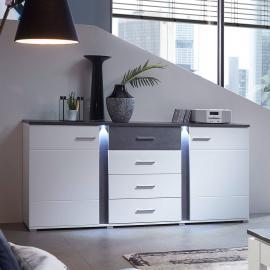 Sideboard inkl. LED in supermatt weiß, Betonoxid dunkel STAMFORD-36 B/H/T 170x87x43cm