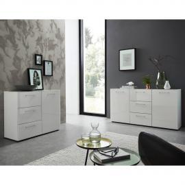 Sideboard & Kommoden Set ORLANDO-01, 2-teilig, Glasfront weiß, B x H x T ca. 257 x 80 x 40cm