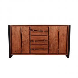 Sideboard LIVE EDGE-14 200x40x80cm cognacfarbig und schwarz Akazie mit Metall