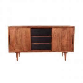 Sideboard MID CENTURY-14 140x45x76cm natur mit schwarzen Schubladen Akazie
