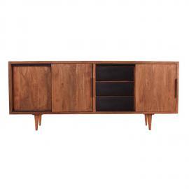 Sideboard MID CENTURY-14 180x40x75cm natur mit schwarzen Schubladen Akazie