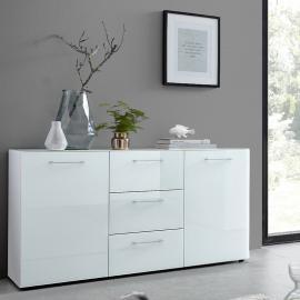 Sideboard ORLANDO-01, Glasfront weiß, B x H x T ca. 145 x 80 x 40cm