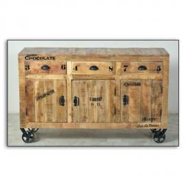 Sideboard RUSTIC-14 140x40x86cm natur antik mit antikschwarzen Beschlägen lackiertes Mangoholz mit starken Gebrauchsspuren