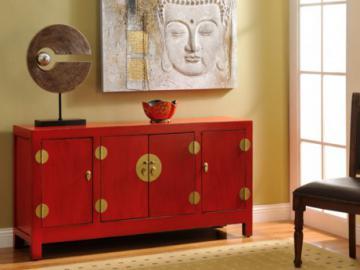 Asia Sideboard Holz Yunan - Rot