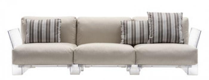 Pop outdoor Sofa / 3-Sitzer - L 255 cm - Kartell - Transparent,Beige