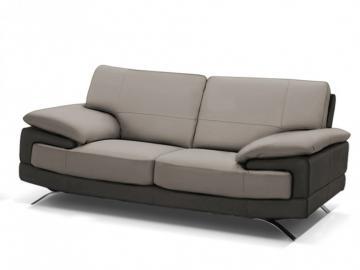 Ledersofa 2-Sitzer Emotion - Luxusleder - Zweifarbig: Grau-Anthrazit