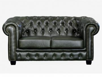 Chesterfield Ledersofa 2-Sitzer Brenton - Vintage Leder - Grün