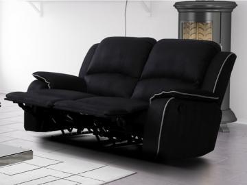 Relaxsofa Microfaser 2-Sitzer Herna - Schwarz