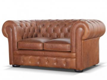 Chesterfield Ledersofa 2-Sitzer London - Vintage Look