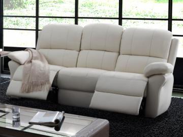 Relaxsofa Leder 3-Sitzer Milagro - Elfenbein
