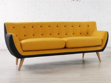 3-Sitzer-Sofa Stoff Serti - Gelb & Grau