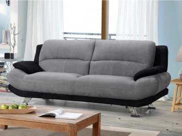 Sofa 3-Sitzer Microfaser MUSKO - Grau-Schwarz