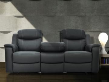 Relaxsofa Leder 3-Sitzer Evasion - Grau