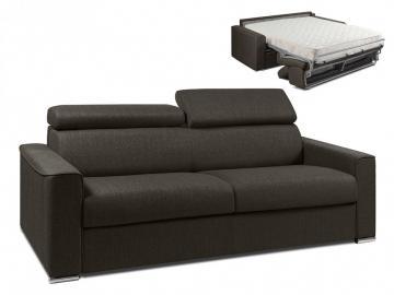 Schlafsofa 4-Sitzer Stoff VIZIR - Braun - Liegefläche: 160 cm - Matratzenhöhe: 18cm