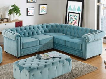 Chesterfield Ecksofa Samt Anton - Limited Edition - Blau