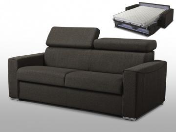 Schlafsofa 3-Sitzer Stoff VIZIR - Braun - Liegefläche: 140 cm - Matratzenhöhe: 14 cm