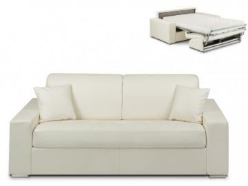 Schlafsofa 3-Sitzer EMIR - Weiß - Liegefläche: 140cm - Matratzenhöhe: 14cm