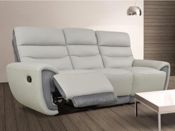Relaxsofa Leder 3-Sitzer COSMY - Grau