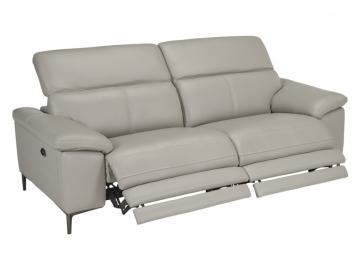 Relaxsofa 3-Sitzer Leder elektrisch YORO - Grau