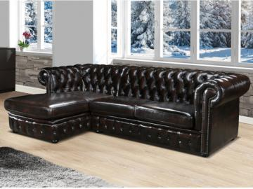 Chesterfield Ecksofa Leder BRENTON - Ecke Links