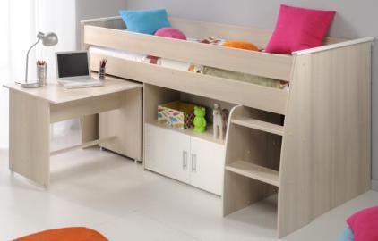 90x200 Stockbett mit integriertem Schreibtisch und Kommode