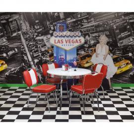 Tischgruppe American Diner mit rundem Esstisch DENVER-31 5tlg rot/weiß