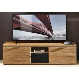 TV Lowboard Fernsehtisch 180cm in Wildeiche Bianco BOZEN-36 Massivholz Fronten, B/H/T 180x52x48cm