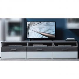 TV Lowboard Fernsehtisch in supermatt weiß, Betonoxid dunkel STAMFORD-36 B/H/T 200x54x54cm