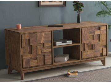 TV-Möbel Holz massiv VILMA - 2 Türen & 2 Ablagen