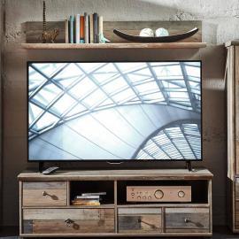 TV-Unterschrank mit Wandregal BRANSON-36 in Vintage Driftwood B x H x T ca.: 130 x 153 x 52 cm
