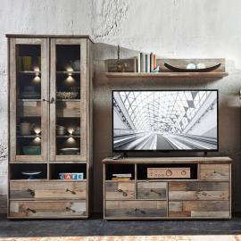 TV Wohnwand Mediamöbel Driftwood braun BRANSON-36 Vitrine mit LED, Lowboard und Wandregal, B x H x T ca.: 228 x 188 x 52 cm