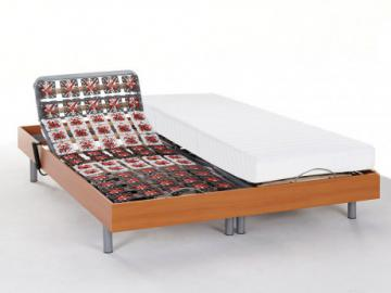 Matratzen elektrischer Lattenrost 2er-Set mit Okin-Motor Cassi III - Kirschholzfarben - 2x 80x200 cm