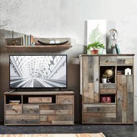 Vintage TV Media Wohnwand Driftwood braun BRANSON-36 B x H x T ca.: 244 x 170 x 52 cm