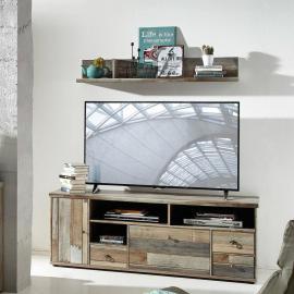 Vintage TV Möbel Set Lowboard mit Wandregal BRANSON-36 in Driftwood braun B x H x T ca.: 162 x 61 x 52 cm