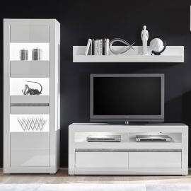 tv lowboard weiss matt lackiert grau mit led beleuchtung woody 41 02476 holz modern fs inspire