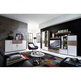 Wohnwand mit Sideboard MDF weiß Silbereiche JASON-36 mit LED-Beleuchtung