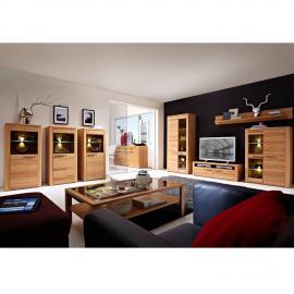 Wohnzimmer komplett Set inkl. Couchtisch, Vitrinen & Wohnwand DAWSON-36 mit LED-Beleuchtung