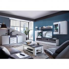 Wohnzimmer Komplettset mit Wohnwand inkl. Couchtisch & Sideboard STAMFORD-36 in supermatt weiß, Betonoxid