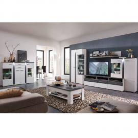 Wohnzimmer Set mit TV Wohnwand inkl. Highboard & Couchtisch STAMFORD-36 in supermatt weiß, Betonoxid