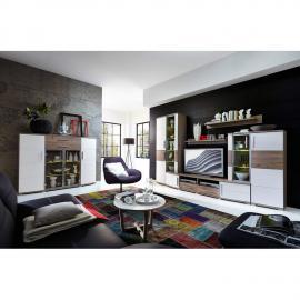 Wohnzimmer Set mit Wohnwand & Highboard JASON-36 weiß Silbereiche modern