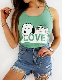 T-shirt damski SNOOPY LOVE zielony RY1505