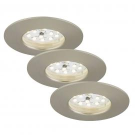 3 spots encastrés LED Felia IP44, nickel mat