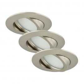 Set de 3 spots encastrés LED Bert, nickel mat