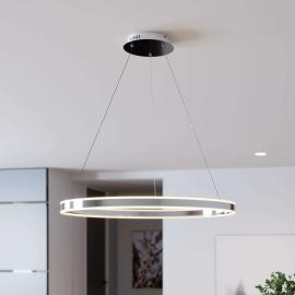 Suspension LED Lyani chromée et dimmable, 80 cm