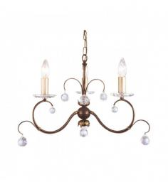 Suspension Lunetta, bronze et cristal, 3 ampoules