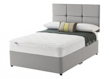 Silentnight Allure Miracoil Cushion Top Divan Set - Single (3' x 6'3), No Storage, Silentnight_Slate Grey