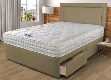 Sleepeezee Backcare Luxury 1400 Divan Bed Set - Single (3' x 6'3), No Storage, Sleepeezee_Weave Wheat