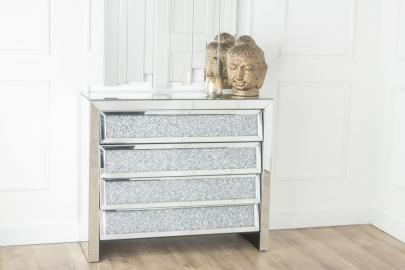Urban Deco Crushed Diamond Angled Mirrored 4 Drawer Chest