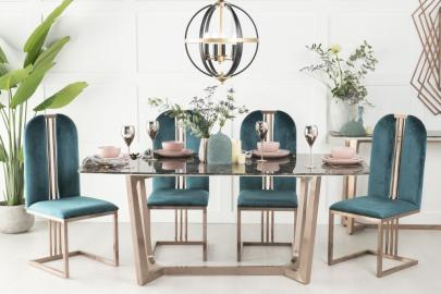 Amara Brown Marble and Bronze 180cm Dining Table with Calto Green Chairs